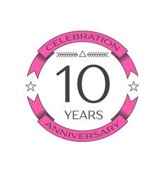 Realistic ten years anniversary celebration logo vector
