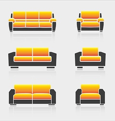 Set of sofas and armchairs vector image vector image