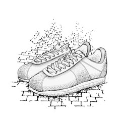 the image of sports sneakers on granite paving vector image vector image