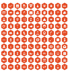 100 holidays icons hexagon orange vector image vector image
