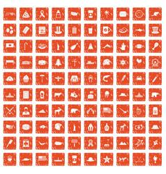 100 north america icons set grunge orange vector image