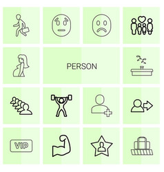 14 person icons vector image