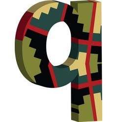 3d font letter q vector image