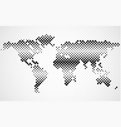 Abstract halftone world map dotted map vector