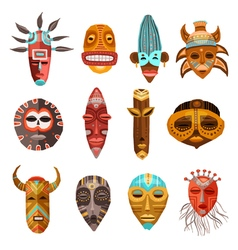 African Ethnic Tribal Masks Set vector