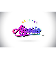 Algeria welcome to word text with creative purple vector