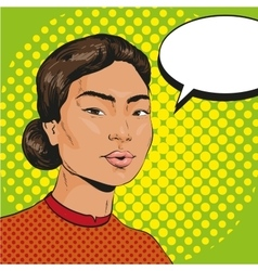 Asian woman in retro pop vector