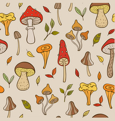 autumn pattern with forest mushrooms vector image