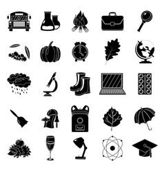 Autumn school icon set black and white style vector