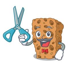Barber granola bar character cartoon vector
