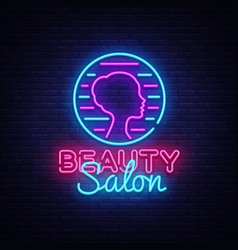 beauty salon sign design template beauty vector image