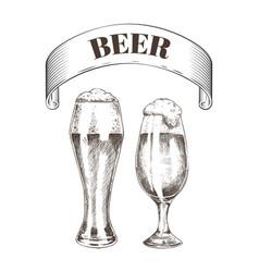 beer glass mug sketches set vector image