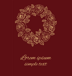 Beige outline roses wreath on the burgundy vector