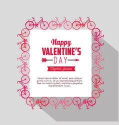 bicycles frame decoration to valentine day card vector image