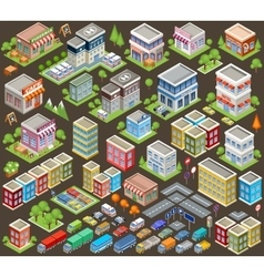 Big isometric set of buildings and houses vector