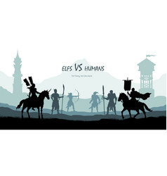 Black silhouette battle humans and elfs vector