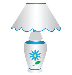 blue and white electric lamp with lampshade with vector image