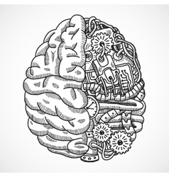 Brain as processing machine vector image