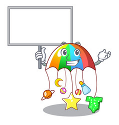 Bring board character hanging toy attached to cot vector