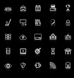 Business management line icons with reflect on vector