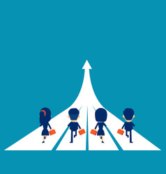 Business team running to success concept business vector