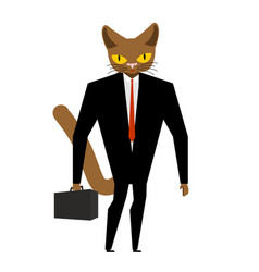 Businessman cat with case and tie pet in costume vector