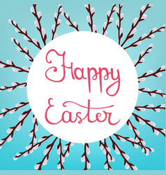 calligraphy lettering happy easter inscription vector image