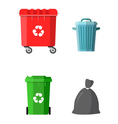can container bag and bucket for garbage vector image