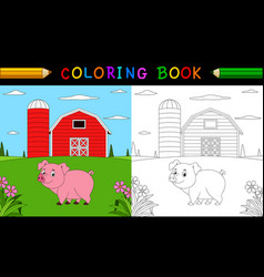 cartoon pig coloring book vector image