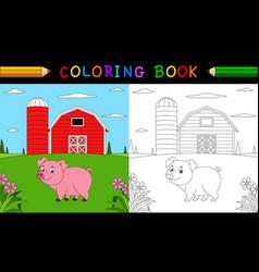 cartoon pig coloring book vector image