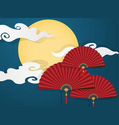 chinese folding fans on blue sky vector image
