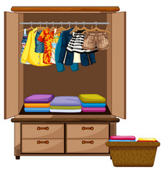 Clothes hanging in wardrobe with basket vector