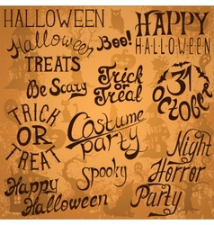 Collection of Halloween hand typography designs vector image