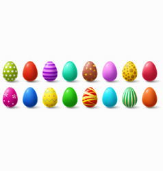 colorful easter eggs holiday chicken egg decor vector image