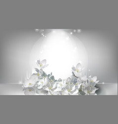 Cosmetic realistic poster falling jasmine flowers vector