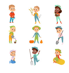cute boys and girls working on farm set little vector image
