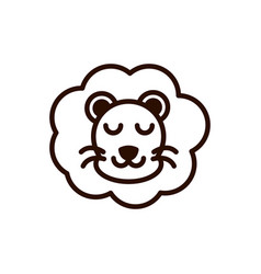 cute face lion animal cartoon icon thick line vector image