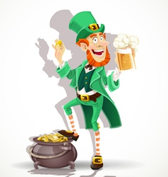 Cute Leprechaun drinking beer and protects gold vector image vector image
