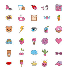 Cute set of icons fantasy kawaii cartoon elements vector