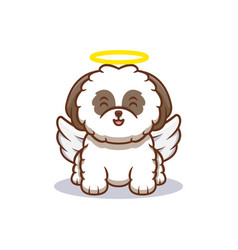 Cute shih-tzu puppy transform to angel cartoon vector