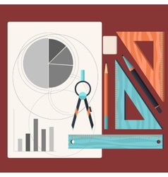design drawings and drawing a project pencil vector image