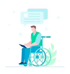 disabled worker chatting - flat design style vector image