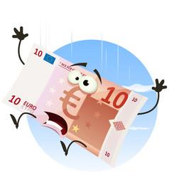 euro bill character falling vector image
