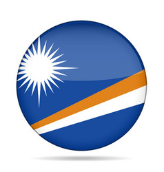 Flag of marshall islands shiny round button vector