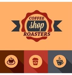 Flat coffee shop design elements vector