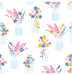 flower vase seamless pattern repeating vector image