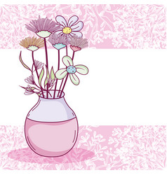 flowers in glass jar card vector image