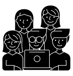 Friends looking at notebook - 5 persons icon vector