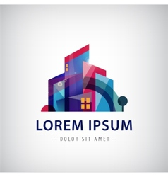 geometric building logo icon vector image
