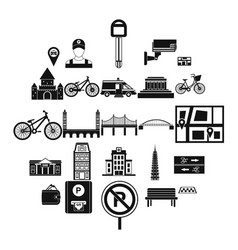 getting around the city icons set simple style vector image